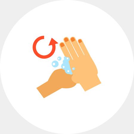 Hand rubbing base of thumb. Clean, soap, habit. Washing hands concept. Can be used for topics like hygiene, health, healthcare.