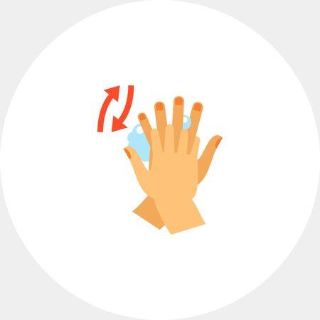 lavarse las manos: Las manos frotando entre los dedos. Limpia, jabón, hábito. Lavarse las manos concepto. Puede ser utilizado para temas como la higiene, la salud, la asistencia sanitaria. Vectores