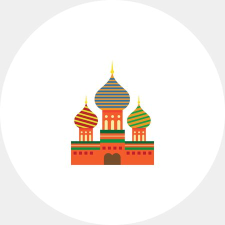 moscow city: Multicolored vector icon of Saint Basil Cathedral