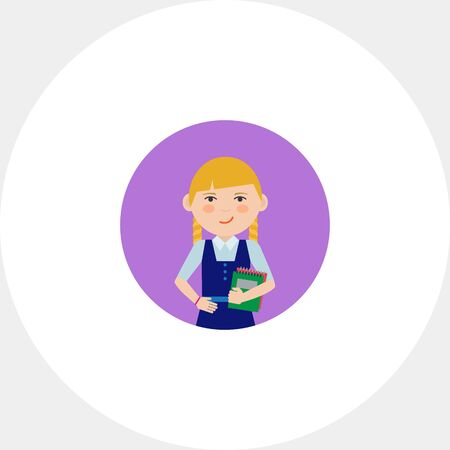 pinafore: Female character, portrait of smiling schoolgirl holding notebooks Illustration