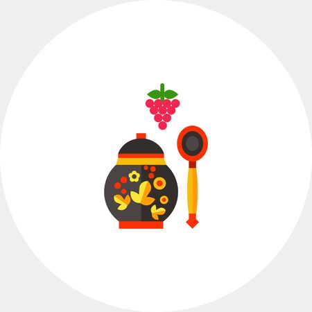 Berries bunch, Russian wooden spoon and jar. Khokhloma, jam, souvenir. Russian food concept. Can be used for topics like Russia, culture, cooking.