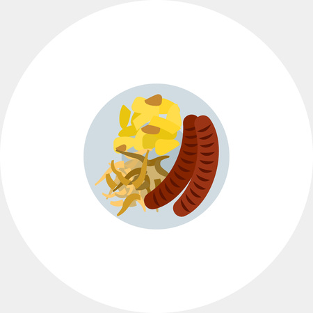 unhealthy eating: Vector icon of sausage, sauerkraut and potatoes on plate. Snack, German cuisine, unhealthy eating. Germany and food concept. Can be used for topics like national cuisine, tourism, gastronomy