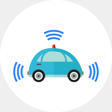 Blue self-driving car with signal signs. Transportation, future, autonomous. Self-driving car concept. Can be used for topics like technology, electronics, science, transport. Illustration
