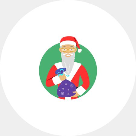 Male character, portrait of senior man wearing Santa costume and fake beard, holding sack with gifts