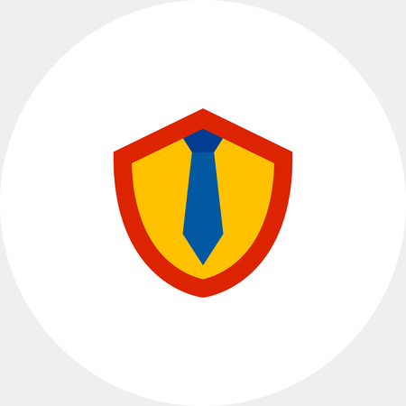 Illustration of shield with tie. Lawyer, work, protection, legislation. Lawyer concept. Can be used for topics like lawyer, work, legislation, law Illustration