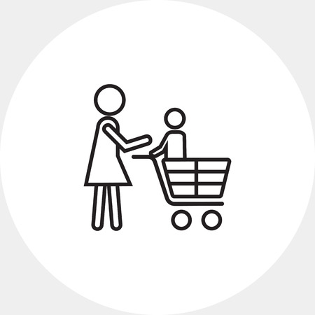 mujer en el supermercado: Icon of woman's silhouette carrying child in shopping cart Vectores
