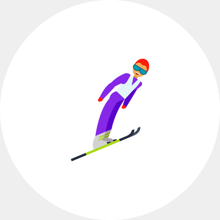 ski goggles: Illustration of smiling male skier jumping. Sport, ski jumping, competition. Ski jumping concept. Can be used for topics like sport, ski jumping, competition, leisure activity Illustration