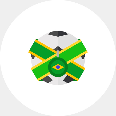 the topics: Soccer ball with Brazil flag icon. Brazil football team, souvenir, football fan. Brazil and sport concept. Can be used for topics like tourism, sport, football championship