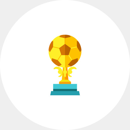 Illustration of golden soccer trophy. Winner, award, success, football. Award concept. Can be used for topics like awards, success, sport, soccer Illustration