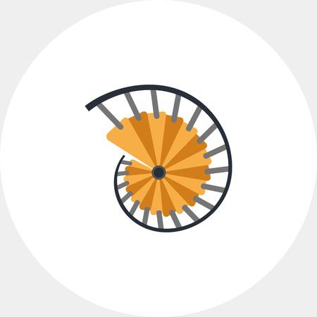 Illustration der Wendeltreppe mit Zaun. Ansicht von oben. Leiter, Treppen, Architektur, Geländer. Architekturkonzept. Kann für Themen wie Architektur, Innen, Gebäude verwendet werden