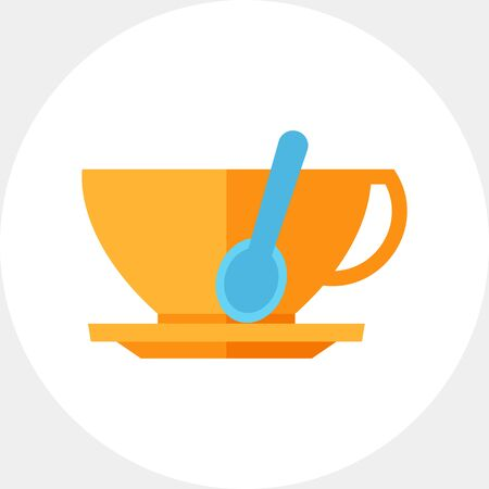 break in: Illustration of tea spoon in cup. Coffee cup, saucer, restaurant, cafe, coffee break. Cafe concept. Can be used for topics like coffee break, restaurant, cafe