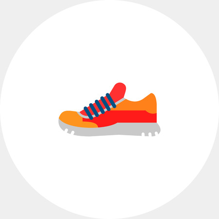 the topics: One red and orange sport shoe. Foot, running, protection. Sport shoes concept. Can be used for topics like sport, health, sports footwear. Illustration