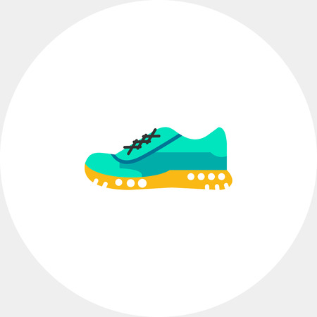 fußsohle: One blue sport shoe on yellow sole. Foot, running, protection. Sport shoes concept. Can be used for topics like sport, health, sports footwear.