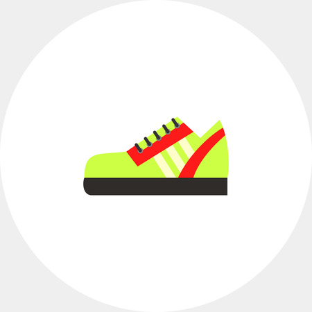 uniform green shoe: One green sport shoe with red strips. Foot, running, protection. Sport shoes concept. Can be used for topics like sport, health, sports footwear.