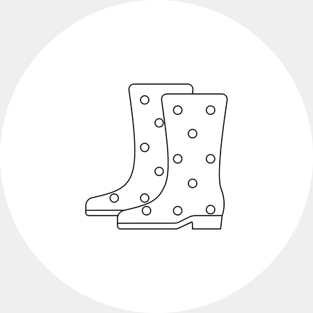 gumboots: Pair of spotted gumboots. Wearing, waterproof, work. Gumboots concept. Can be used for topics like gardening, footwear, equipment.