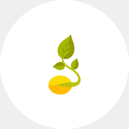 Icon of sprouted grain with growing leaf. Food, cereal grain, organic, seed. Agriculture concept. Can be used for topics like healthy food, cereal grain or seed