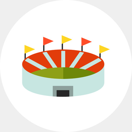 sport fan: Multicolored vector icon of stadium, top view
