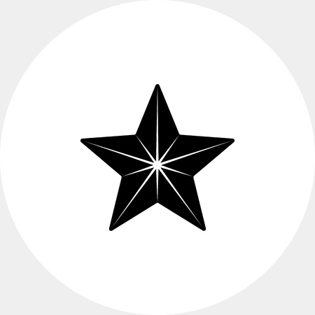 Monochrome vector icon of five-pointed star with many sides