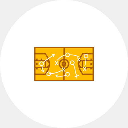 Basketball court with lines, crosses and arrows. Strategical basketball game plan, layout, strategy, sport. Basketball game plan concept. Can be used for topics like sport, basketball game, strategy