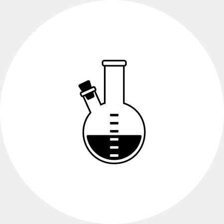plugged: Monochrome vector icon of purple substance in flask with two necks, one of them plugged with corks Illustration
