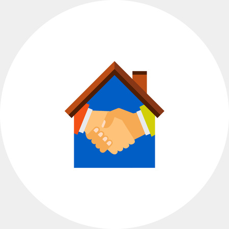 bargain for: Icon of handshake inside of house icon. Purchase, bargain, partnership. House concept. Can be used for topics like rent, real estate or house purchase Illustration