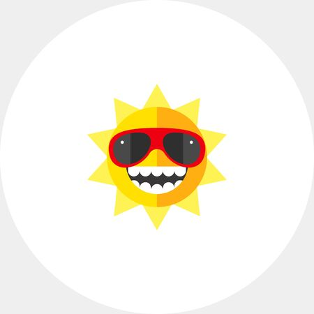 Ecstatic sun in sunglasses showing toothy smile. Summer vacation, sunbathing, tropical climate, solar therapy. Summer concept. Can be used for topics like travel, health, weather and climate