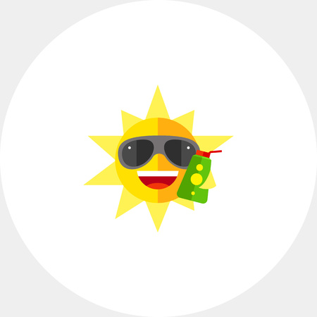 sun block: Joyful sun in sunglasses holding sunscreen lotion and smiling. Summer resort, sunbathing, skincare. Summer concept. Can be used for topics like travel, summer vacations, health and beauty