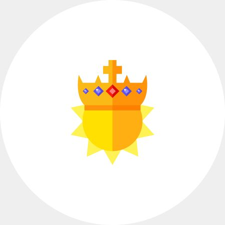Sun in golden crown. Wealth, majestic, emperor. Royalty concept. Can be used for topics like fashion, luxury, accessories. Illustration