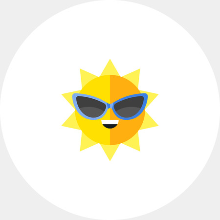 Smiling summer sun wearing sunglasses. Heat, beach, weather. Summer concept. Can be used for topics like summer, vacation, resorts.