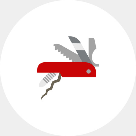 Vector icon of knife. Multifunction knife, pocket knife, souvenir.  Can be used for topics like travel, tourism, hiking equipment