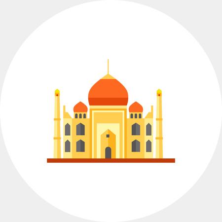 the taj mahal: Multicolored vector icon of Indian Taj Mahal Mausoleum