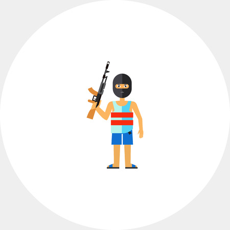 Male character in mask holding machine gun. Threat, killer, terror. Terrorist concept. Can be used for topics like terrorism, violence, criminalty. Illustration