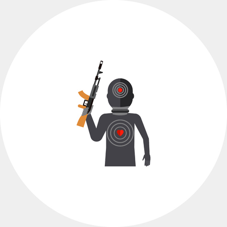 Terrorist silhouette with gun and targets on body. Threat, killer, terror. Terrorist concept. Can be used for topics like terrorism, violence, criminalty.