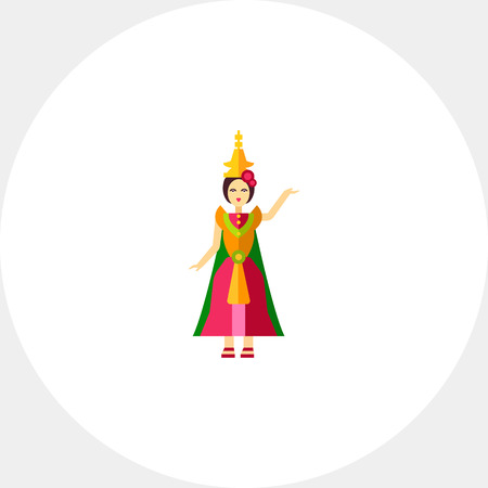 thai dance: Icon of Thai dancer in colorful dress. Classical dance, dramatic art, grace. Thai culture concept. Can be used for topics like performance, entertainment or folk dance Illustration