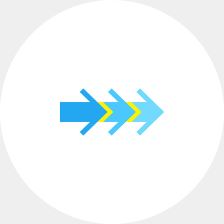 Illustration of three consecutive arrows. Direction, pointer, step process. Direction concept. Can be used for topics like direction, signs, process, Internet