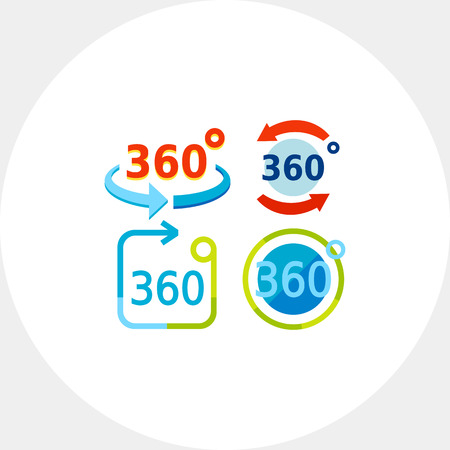 representations: Multicolored vector icon of set of representations of three hundred and sixty degrees rotation Illustration