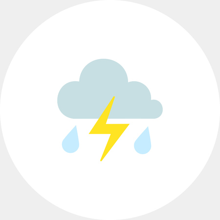 prediction: Icon of clouds with falling raindrops and lightning