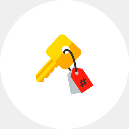 keywording: Illustration of key with tag. Keywording, copywriting, research. Keywording concept. Can be used for topics like marketing, copywriting, Internet
