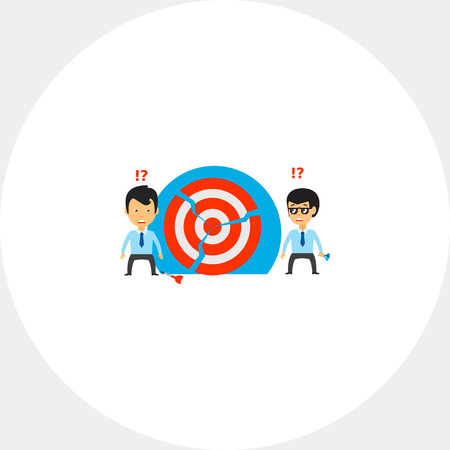 Two businessmen at broken target. Goal, team, confused. Broken target concept. Can be used for topics like business, teamwork, planning, management.