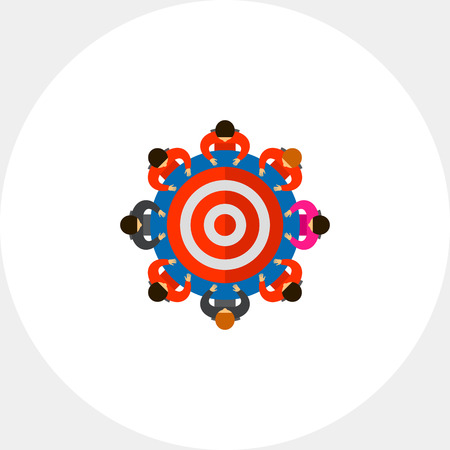 Top view of people sitting around table as target. Goal, collaboration, strategy. Team target concept. Can be used for topics like business, teamwork, planning, management. Illustration