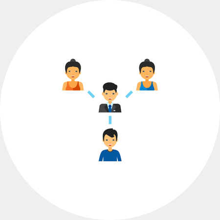 Network of people with leader in center. Hierarchy, collaboration, leadership. Team structure concept. Can be used for topics like business, management, recruitment.