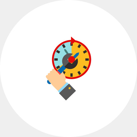 Hand adjusting clock with spanner. Deadline, punctuality, efficiency. Time management concept. Can be used for topics like management, planning, business.