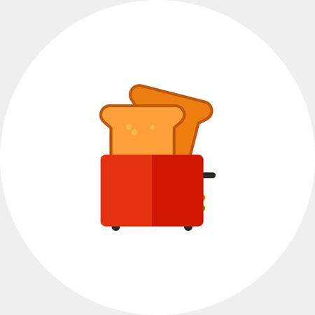 toasted: Multicolored vector icon of kitchen toaster with bread slice