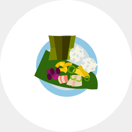 cooked rice: Vector icon of top view of laulau with rice on plate. Native Hawaiian dish, meat dish, Hawaiian cuisine. Hawaii concept. Can be used for topics like Hawaiian culture, travel, gastronomy