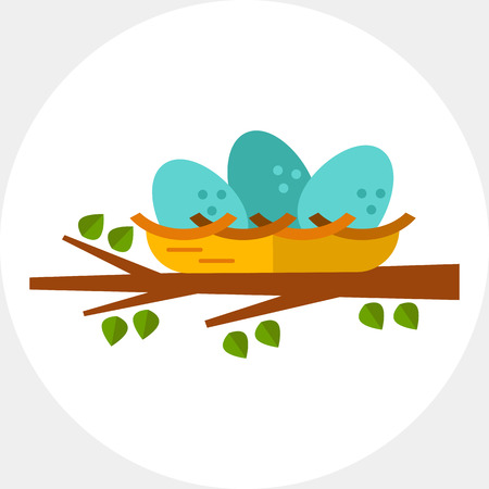 Multicolored vector icon of nest with three eggs on tree branch