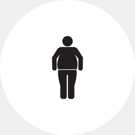 excess: Vector icon of standing Obesity man silhouette