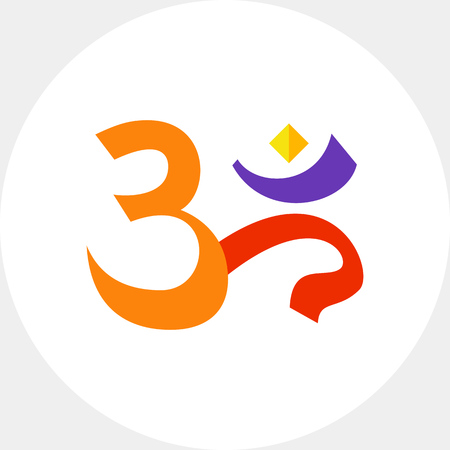 Multicolored vector icon of om sign, spiritual icon in Indian religion