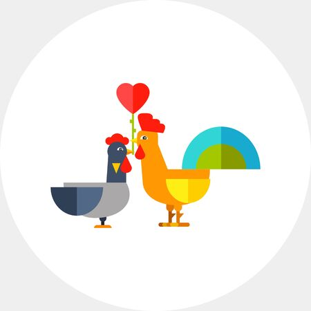 zoology: Rooster and hen in love. Colorful, crest, gift. Rooster concept. Can be used for topics like zoology, domestic animals, astrology. Illustration