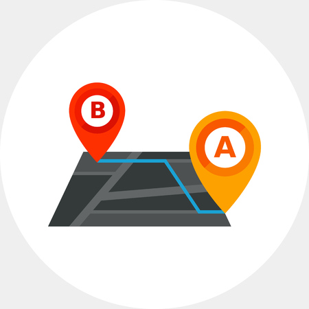 Map with route and map pointers. Navigation, itinerary, distance. Tourism concept. Can be used for topics like tourism, navigation, technology Illustration