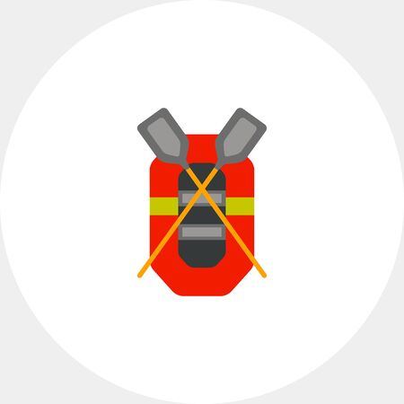 Rubber boat with crossed oars. Boating, top view, fishing. Camping concept. Can be used for topics like camping, tourism, fishing